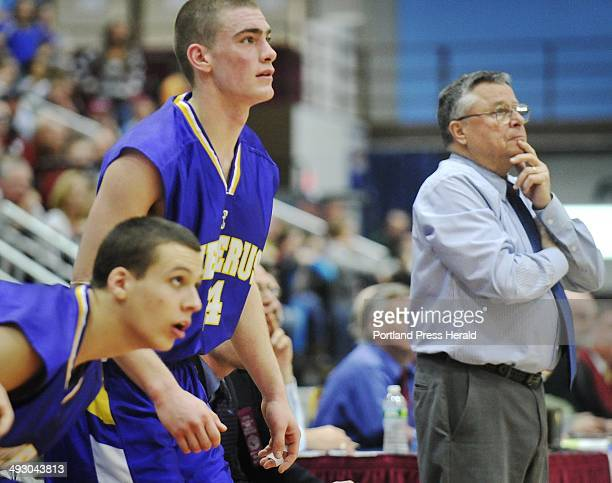 Saturday March 5 2011 Cheverus vs Bangor boys Class A basketball state championship game in Augusta Cheverus players Matthew Cimino and Peter Gwilym...