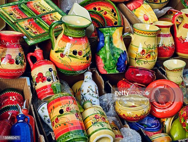 saturday market in aix-en-provence: pottery - phil haber stock pictures, royalty-free photos & images