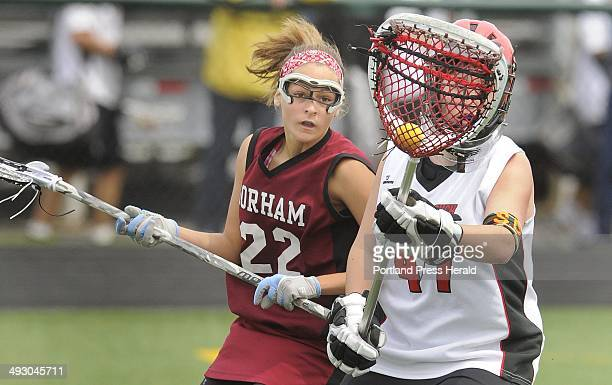 Saturday May 22 2010 Scarborough vs Gorham girls lacrosse game at Scarborough Scarborough goalie Marina Sterrer takes possession of a loose ball in...