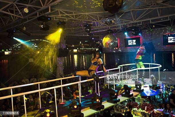Saturday night at the 'Freestyler' a floating river club on the river bank of the Sava on June 14 2009 in Belgrade Serbia