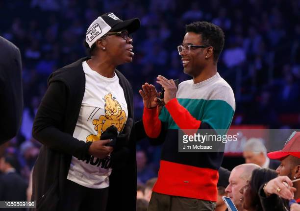 Saturday Night Live' cast member Leslie Jones and comedian Chris Rock attend a game between the New York Knicks and the Golden State Warriors at...