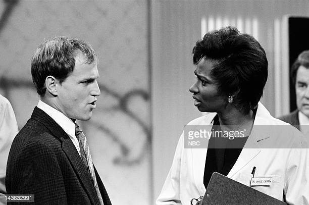 Saturday Night Live Episode 20 Pictured Woody Harrelson as Rudy Ellen Cleghorne as Dr Janice Griffin during the 'Frank Gannon PI PI' skit on May 16...