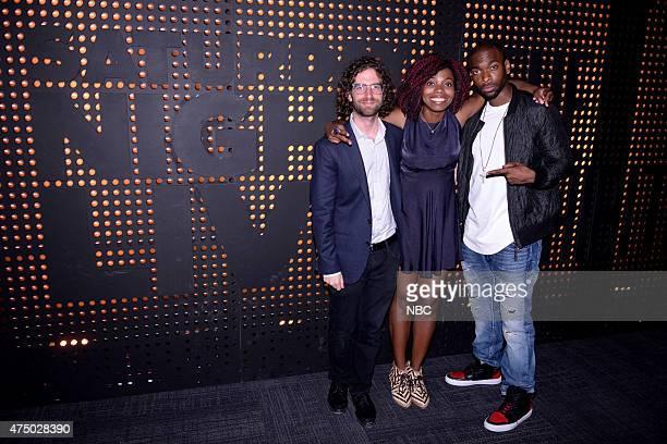 LIVE 'Saturday Night Live The Exhibition' Pictured Kyle Mooney Sasheer Zamata and Jay Pharoah at the launch party for 'Saturday Night Live The...