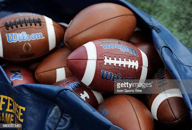 Saturday, November 7, 2015: A bag of game balls waits at the ready on the Michigan sidelines before the Michigan Wolverines 49-16 win over the...