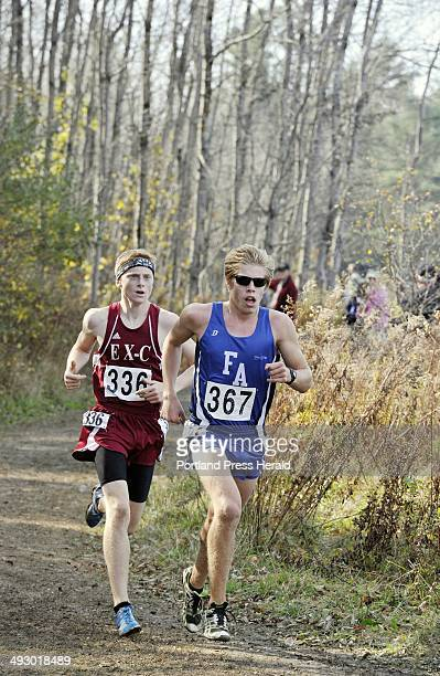 Saturday October 27 2012 Boys class B state cross country championships in Belfast Fryeburg Academy's Silas Eastman and Ellsworth's Dan Curts ran...