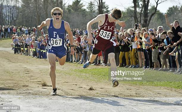 Saturday October 27 2012 Boys class B state cross country championships in Belfast Ellsworth's Dan Curts just beats out Fryeburg's Silas Eastman in...