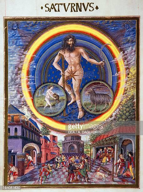 Saturn ruler of the signs of Aquarius and Capricorn miniature attributed to Cristoforo de Predis from the astrological book De Sphaera lat manuscript...