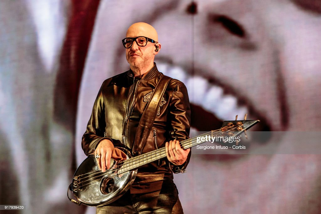 Saturnino Celani performs on stage at Mediolanum Forum of Assago for Jovanotti, born Lorenzo Cherubini, on February 13, 2018 in Milan, Italy.
