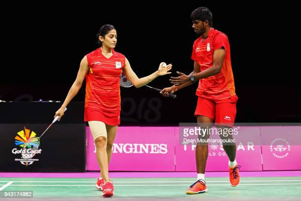 Satwik Rankireddy and Ashwini Ponnappa of India compete against Yong Kai Terry Hee and Jia Ying Crystal Wong of Singapore in the Mixed Doubles...