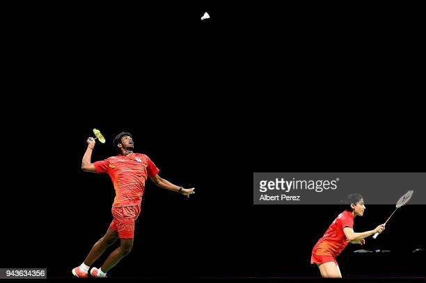 Satwik Rankireddy of India competes in the Badminton Mixed Team gold match on day five of the Gold Coast 2018 Commonwealth Games at Carrara Sports...