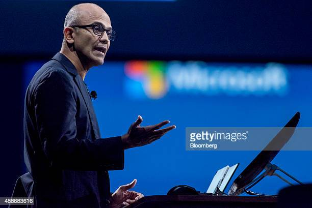 Satya Nadella chief executive officer of Microsoft Corp speaks during a keynote address at the DreamForce Conference in San Francisco California US...