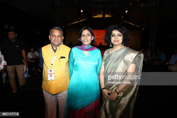 Satya Narayan Shukla Preeta Verma and Alka Arora during the event Khadi Transcending Boundaries It included a fashion show by designers Anju Modi...