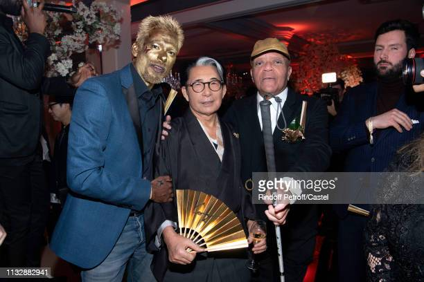 Satya Oblette Kenzo Takada and Guy Cuevas attend the 80th Kenzo Takada Birthday Party at Pavillon Ledoyen on February 28 2019 in Paris France