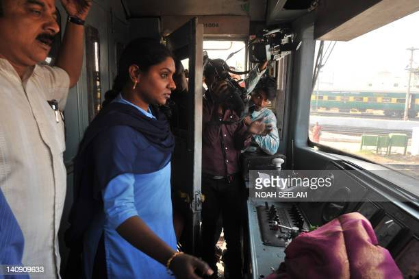 Satyavathi the first independent Indian woman locomotive pilot of South Central Railway drives a Mathrubhoomi Ladies Special train in Hyderabad on...