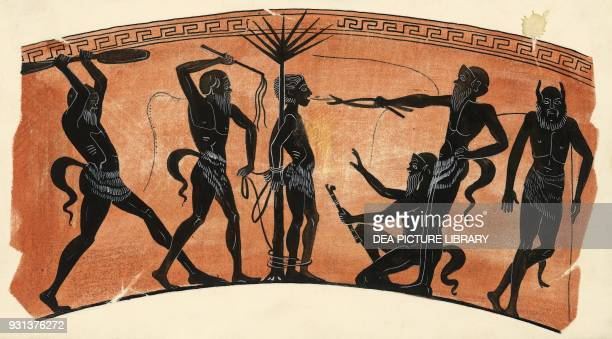 Satyr play drawing from a vase Greece Greek civilization 5th century BC