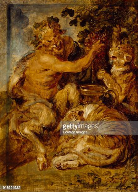 A Satyr pressing Grapes with a Tiger and Leopard circa 1618 Dimensions height x width x depth 334 x 242 cm