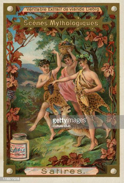 Satyr/ Satires one of a troop of male companions of Pan and Dionysus with goatlike features Liebig card Mythological Scenes 1896