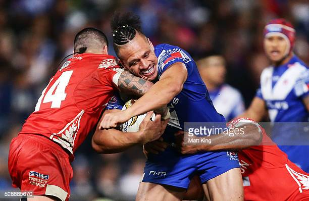 Sauaso Sue of Samoa is tackled during the International Rugby League Test match between Tonga and Samoa at Pirtek Stadium on May 7 2016 in Sydney...
