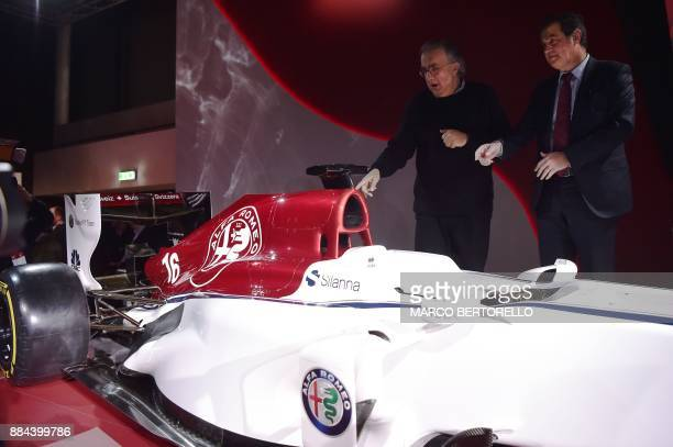 Sauber CEO Pascal Picci and Fiat Chrysler Automobiles CEO Sergio Marchionne unveil the new Alfa Romeo Sauber Formula One Team car on December 2 2017...