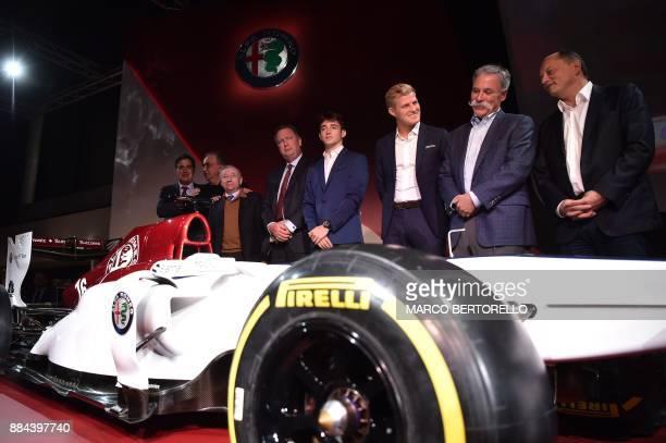 Sauber CEO Pascal Picci Fiat Chrysler Automobiles CEO Sergio Marchionne FIA President Jean Todt Monegasque racing driver Charles Leclerc Swedish...