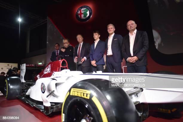 Sauber CEO Pascal Picci Fiat Chrysler Automobiles CEO Sergio Marchionne Monegasque racing driver Charles Leclerc Swedish Sauber F1's driver Marcus...