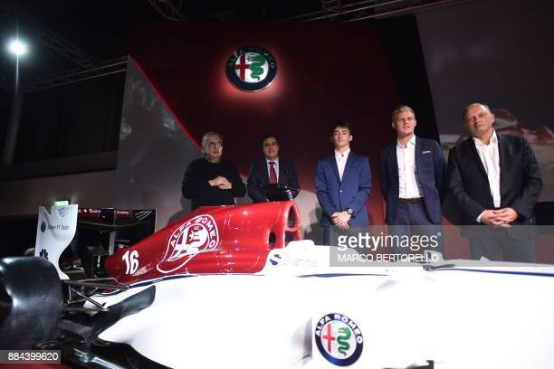Sauber CEO Pascal Picci Fiat Chrysler Automobiles CEO Sergio Marchionne Monegasque racing driver Charles Leclerc and Swedish Sauber F1's driver...