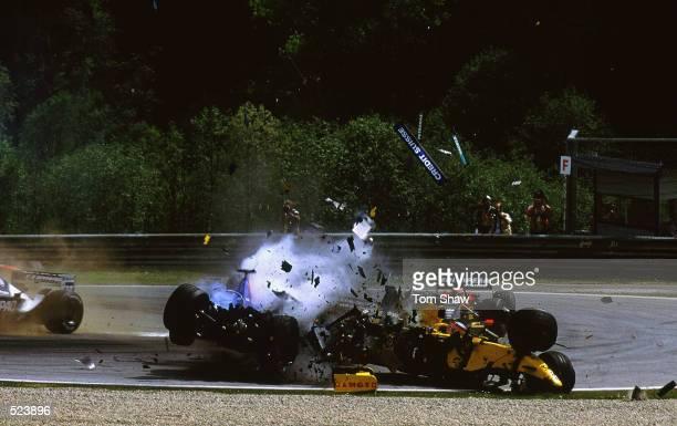 Sauber driver Nick Heidfeld of Germany smashes into Jordan-Honda driver Takuma Sato of Japan car during the Austrian Formula One Grand Prix held at...