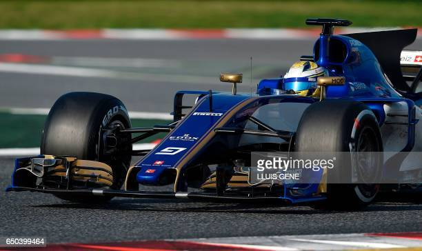 Sauber F1 Team's Swedish driver Marcus Ericsson drives at the Circuit de Catalunya on March 9 2017 in Montmelo on the outskirts of Barcelona on the...