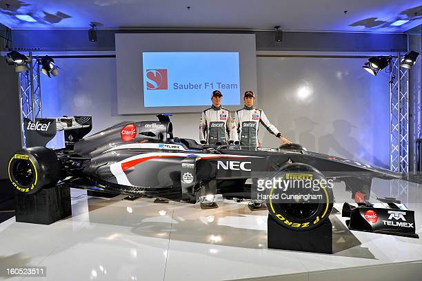 Sauber Formula 1 drivers Nico Hulkenberg of Germany and Esteban Gutierrez of Mexico unveil the Sauber C32Ferrari new car for the 2013 Formula 1...