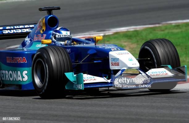Sauber Petronas' Kimi Raikkonen on his way to seventh position