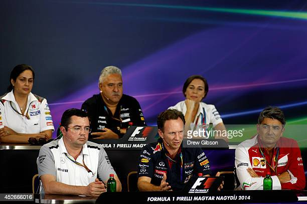 Sauber Team Principal Monisha Kaltenborn Force India Chairman Vijay Mallya and Williams deputy team principal Claire Williams McLaren Racing Director...