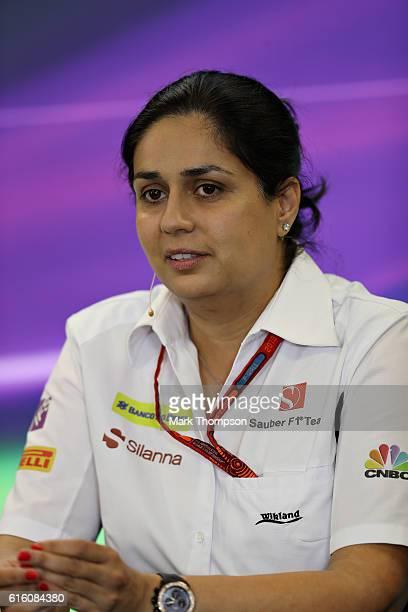 Sauber Team Principal Monisha Kaltenborn in the Team Principals Press Conference during practice for the United States Formula One Grand Prix at...
