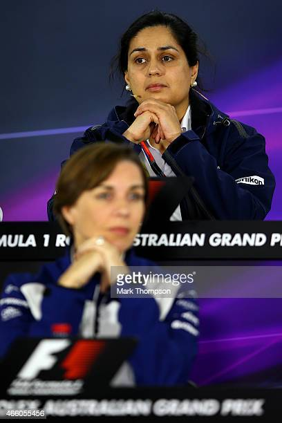 Sauber Team Principal Monisha Kaltenborn looks on behind Williams Deputy Team Principal Claire Williams during a preevent press conference after...