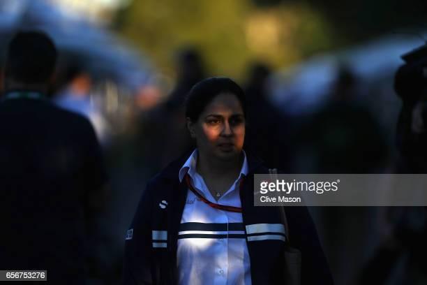 Sauber Team Principal Monisha Kaltenborn walks in the Paddock during previews to the Australian Formula One Grand Prix at Albert Park on March 23...