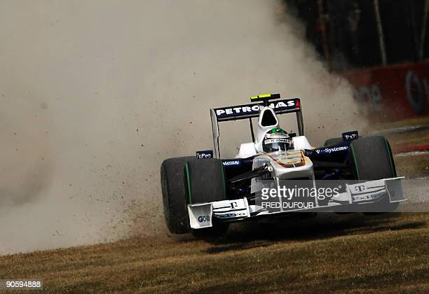 BMW Sauber's German driver Nick Heidfeld drives off the track at the Autodromo Nazionale circuit on September 11 2009 in Monza during the second free...