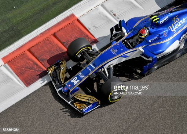 Sauber's German driver Pascal Wehrlein drives his car during the first practice session ahead of the Abu Dhabi Formula One Grand Prix at the Yas...