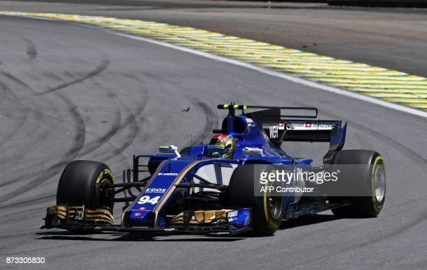 Sauber's German driver Pascal Wehrlein powers his car during the Brazilian Formula One Grand Prix at the Interlagos circuit in Sao Paulo Brazil on...