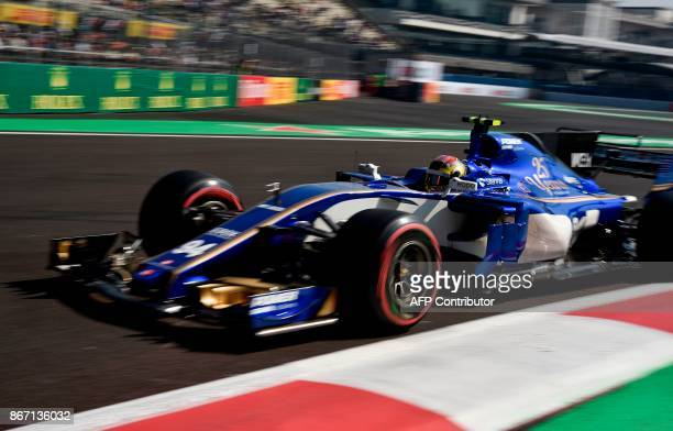 Sauber's Germany F1 driver Kimi Pascal Wehrlein is pictured during the first free practice of the F1 Mexico Grand Prix at the Hermanos Rodriguez...