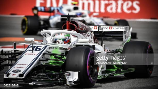 Sauber's Italian driver Antonio Giovinazzi steers his car during the first practice session of the Formula One Russian Grand Prix at the Sochi...