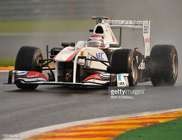 Sauber's Japanese driver Kamui Kobayashi drives at the Spa-Francorchamps circuit on August 26, 2011 in Spa during the first practice session of the...
