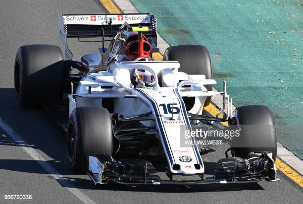 Sauber's Monacan driver Charles Leclerc drives around the Albert Park circuit during the second Formula One practice session in Melbourne on March 23...