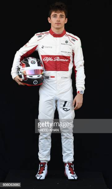 Sauber's Monacan driver Charles Leclerc poses for a portrait photo at the Albert Park circuit in Melbourne on March 22 ahead of the Formula One...