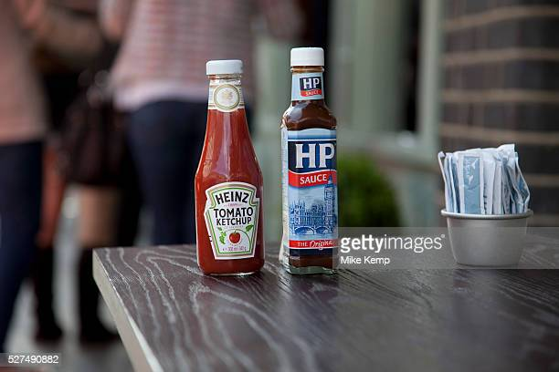 HP Sauce and Heinz Tomato Ketchup bottles outside a cafe in Spitalfields London Two icons of the sauce world