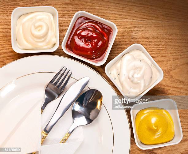 sauce selection - mayonnaise stock pictures, royalty-free photos & images