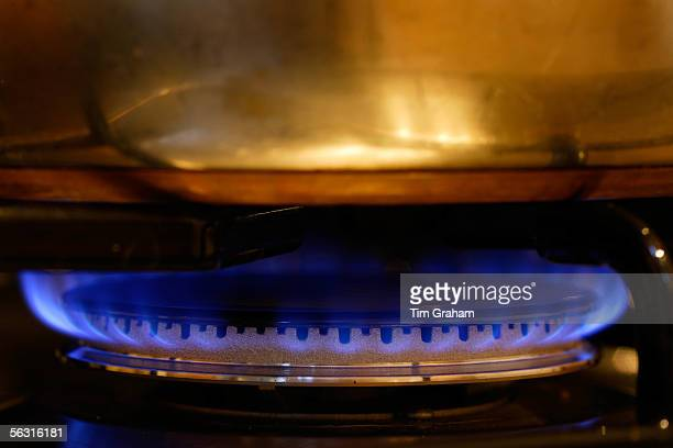 Saucepan cooking over gas flame on cooker hob, England, United Kingdom.