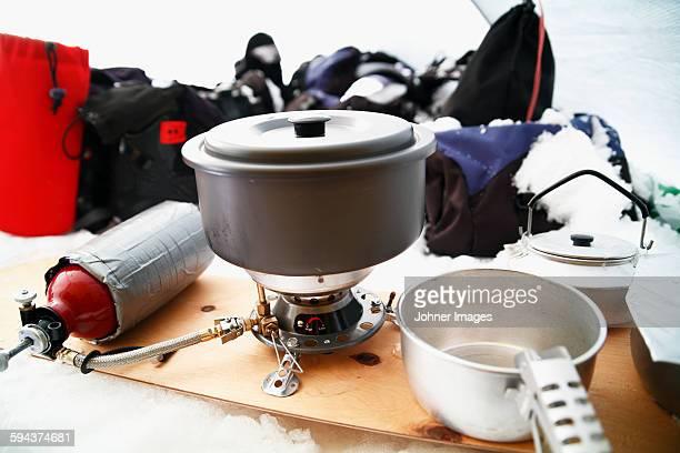 Saucepan on spirit stove