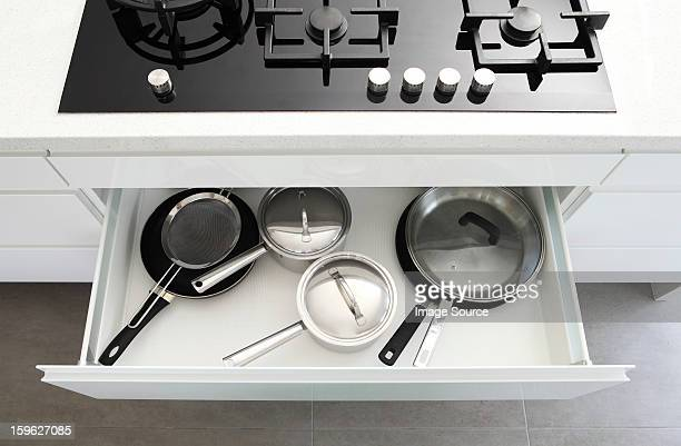 Saucepans in draw under hob