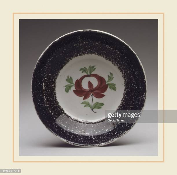Saucer, 1800–1830, Possibly made in Staffordshire, England, British, Earthenware, spatterware, Diam. 5 3/4 in. , Ceramics.