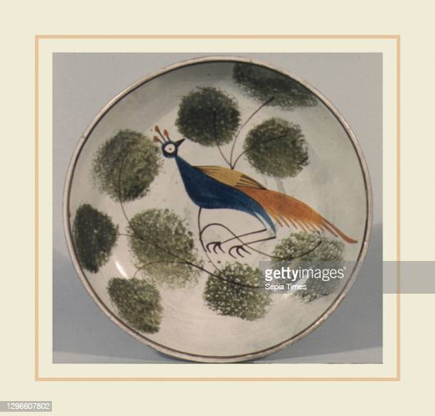 Saucer, 1800–1830, Possibly made in Staffordshire, England, Earthenware, spatterware, Diam. 5 1/2 in. , Ceramics.