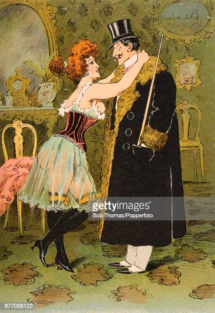 Saucy French postcard illustration featuring a flame-haired, buxom woman in a state of deshabille in her boudoir bidding adieu to an elegantly...